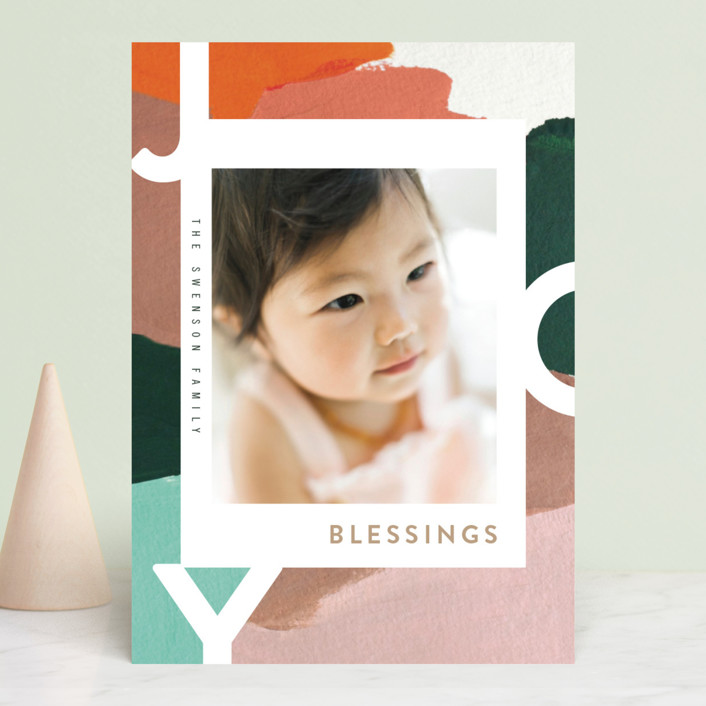 """Peace for You"" - Modern Holiday Photo Cards in Snowy Day by Moglea."