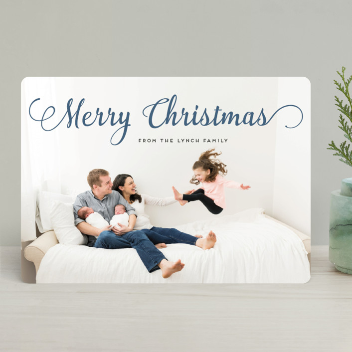 """""""Stylish and Merry"""" - Holiday Photo Cards in Steel Blue by Alexandra Dzh."""