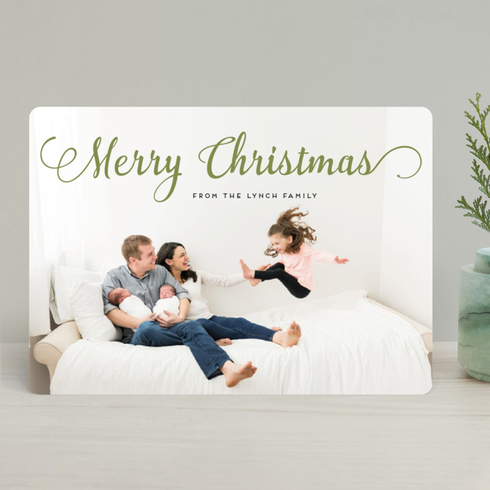 """Stylish and Merry"" - Holiday Photo Cards in Venetian Red by Alexandra Dzh."