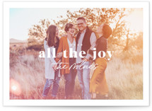 This is a pink holiday photo card by Everett Paper Goods called Light Leak with standard printing on smooth signature in standard.