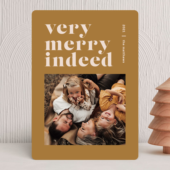 """""""Merry Indeed"""" - Holiday Photo Cards in Mustard by Dozi - Wendy Chung."""