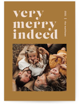 This is a yellow holiday photo card by Dozi - Wendy Chung called Merry Indeed with standard printing on signature in standard.