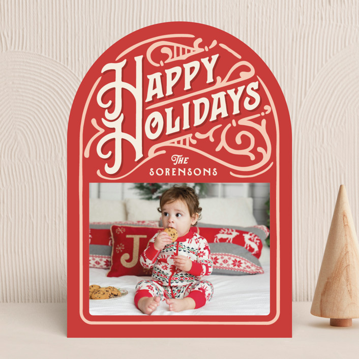 """""""Holiday Vintage"""" - Vintage Holiday Photo Cards in Candy Cane by GeekInk Design."""