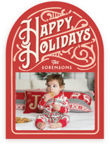 This is a red holiday photo card by GeekInk Design called Holiday Vintage with standard printing on signature in standard.
