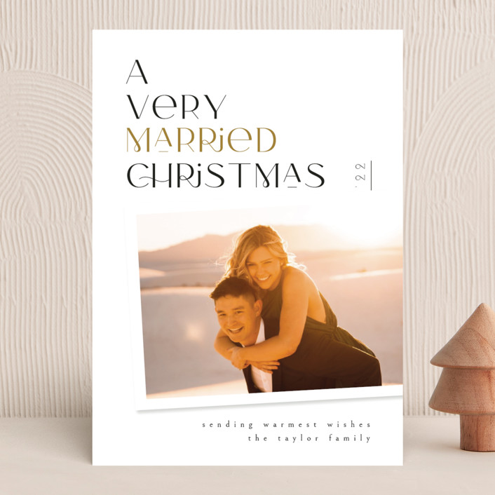 """""""Very Married"""" - Holiday Photo Cards in Champagne by Ana de Sousa."""