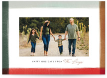 This is a red holiday photo card by Julie Murray called Edge Dip with standard printing on triplethick in standard.