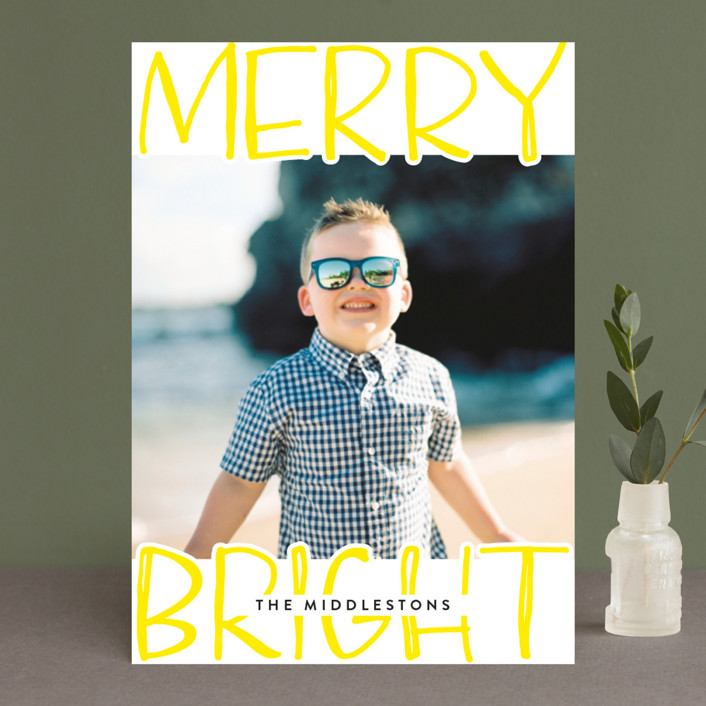 """Very Merry Bright"" - Modern Holiday Photo Cards in Lemon by Annie Montgomery."