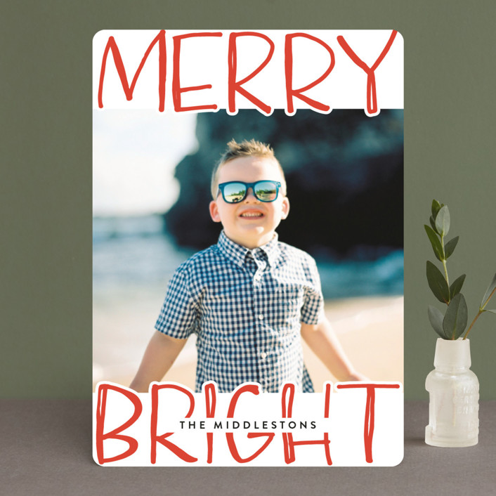"""""""Very Merry Bright"""" - Modern Holiday Photo Cards in Cherry by Annie Montgomery."""