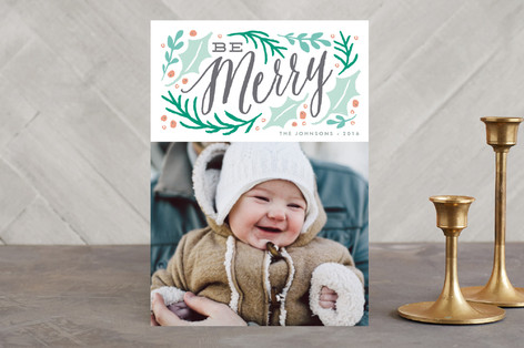 merry winter branches Holiday Photo Cards