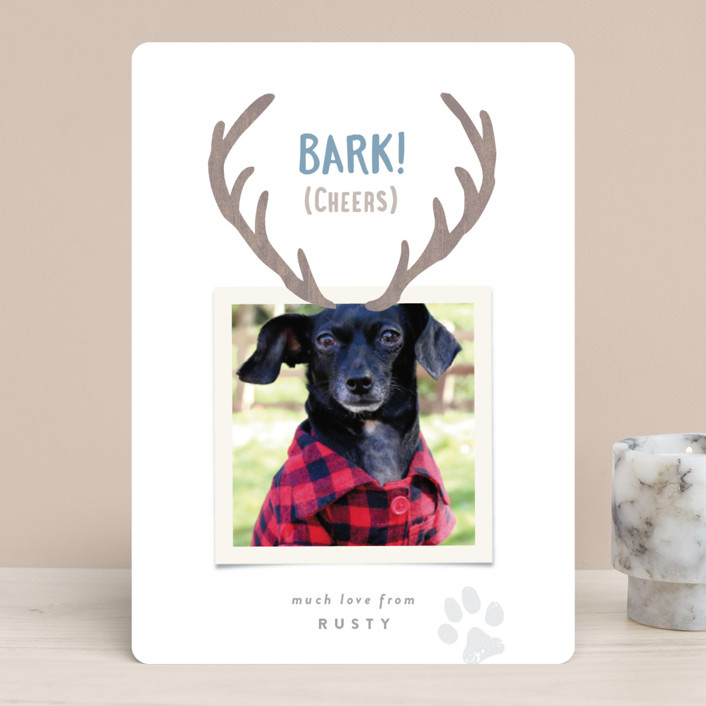 """""""Reindeer Ears"""" - Funny Holiday Photo Cards in Berry by Hooray Creative."""