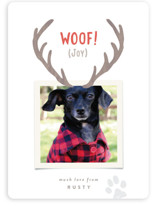 This is a brown holiday photo card by Hooray Creative called Reindeer Ears with standard printing on smooth signature in standard.