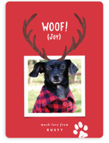This is a red holiday photo card by Hooray Creative called Reindeer Ears with standard printing on smooth signature in standard.