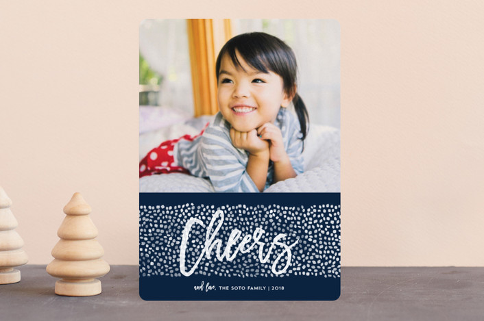 """Peace Dots"" - Holiday Photo Cards in Navy by Paper Dahlia."