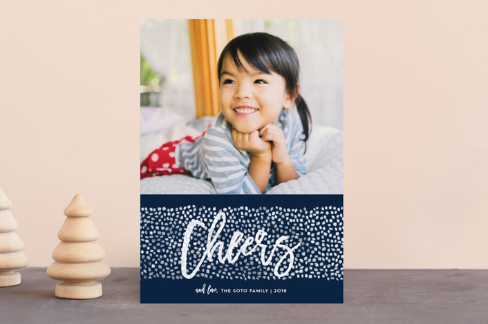 """""""Peace Dots"""" - Holiday Photo Cards in Navy by Paper Dahlia."""