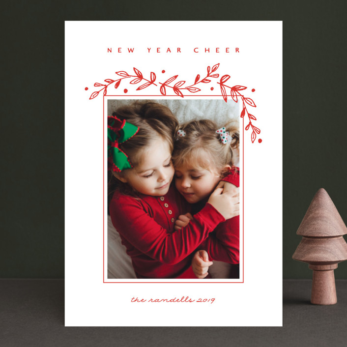 """Holiday Frame"" - Holiday Photo Cards in Santa Red by Susan Brown."