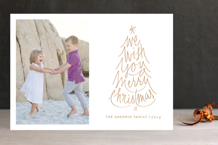 """""""Merry Wish"""" - Classical, Elegant Holiday Photo Cards in Butterscotch by Lori Wemple."""