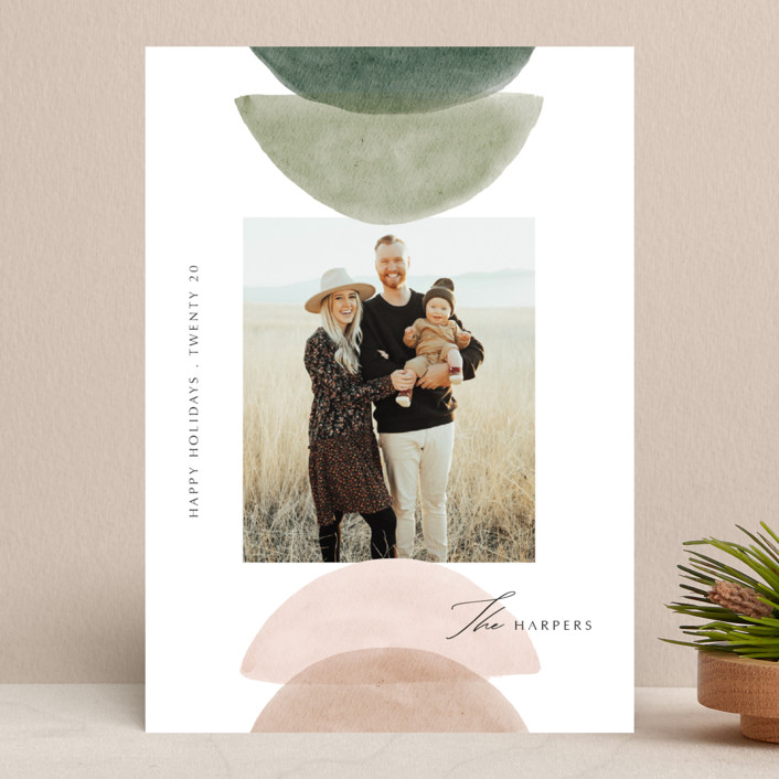 """Shapes"" - Modern Holiday Photo Cards in Cactus by Elly."