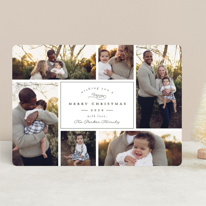 """Boxed"" - Holiday Photo Cards in Spruce by peony papeterie."