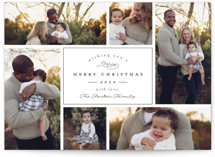 This is a green holiday photo card by peony papeterie called Boxed with standard printing on smooth signature in standard.