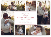 This is a red holiday photo card by peony papeterie called Boxed with standard printing on smooth signature in standard.