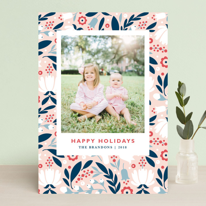 """Mod Flor"" - Holiday Photo Cards in Wildflower by Kristen Smith."