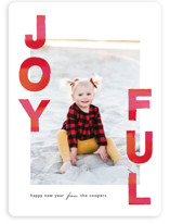 This is a red holiday photo card by Mansi called Joyful Holiday with standard printing on smooth signature in standard.