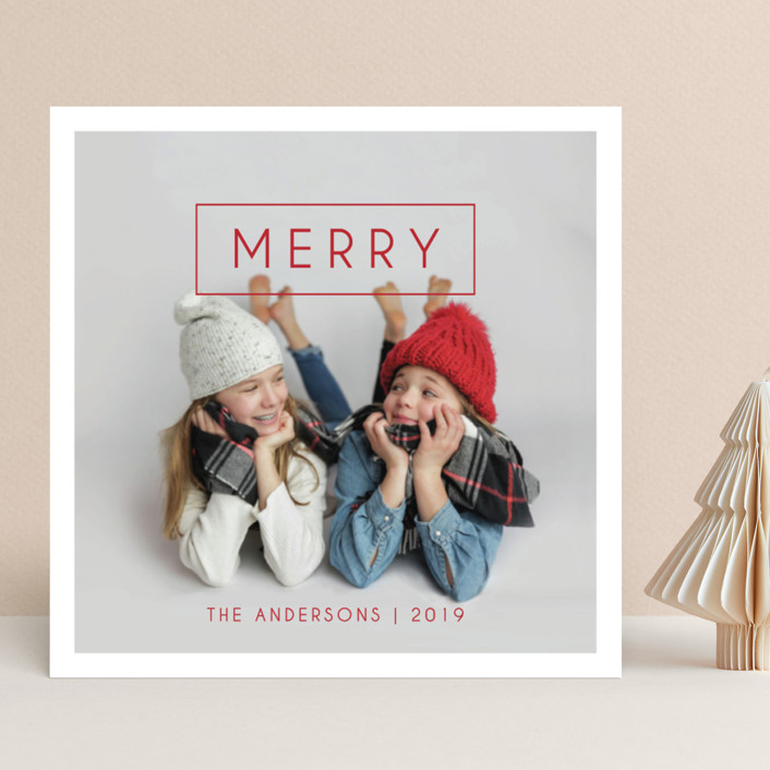 """""""Simple & Merry"""" - Holiday Photo Cards in Frost by Kiersten Garner."""