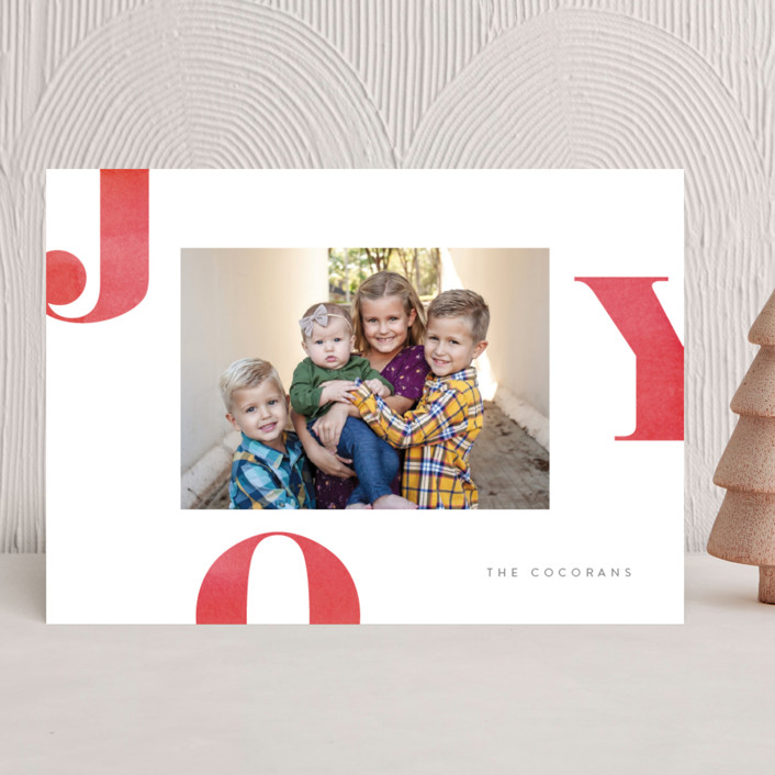"""""""Letters of Joy"""" - Holiday Photo Cards in Cherry by Jessica Maslyn."""