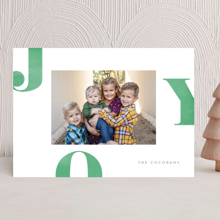 """""""Letters of Joy"""" - Holiday Photo Cards in Spruce by Jessica Maslyn."""