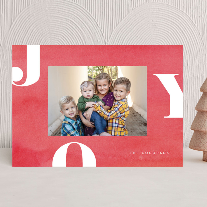 """Letters of Joy"" - Holiday Photo Cards in Peppermint by Jessica Maslyn."