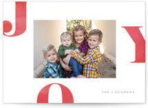 This is a red holiday photo card by Jessica Maslyn called Letters of Joy with standard printing on smooth signature in standard.