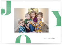 This is a green holiday photo card by Jessica Maslyn called Letters of Joy with standard printing on smooth signature in standard.