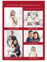 This is a red holiday photo card by Susan Moyal called Holiday Memories with standard printing on smooth signature in standard.