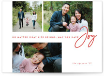 This is a red holiday photo card by peony papeterie called Have Joy with standard printing on smooth signature in standard.