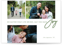 This is a green holiday photo card by Brianne Larsen called Have Joy with standard printing on smooth signature in standard.
