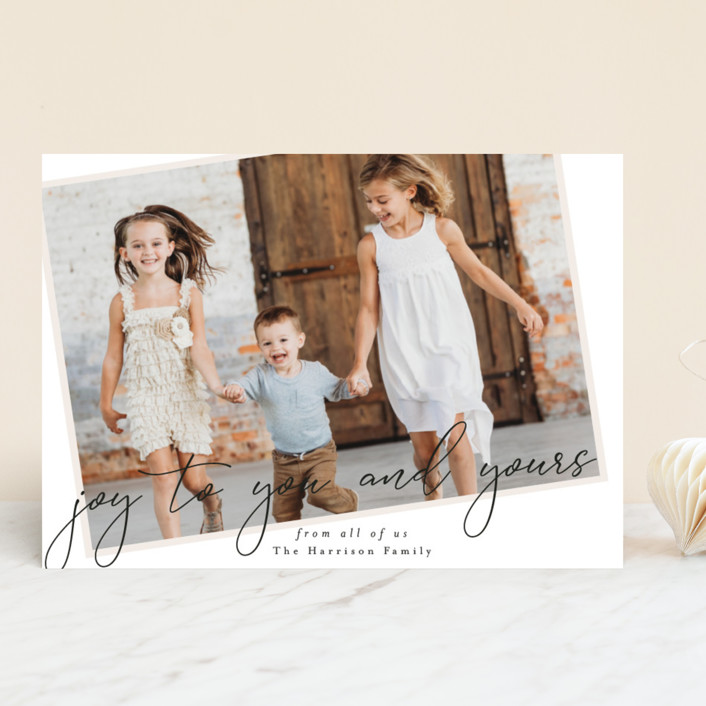 """""""You and Yours"""" - Holiday Photo Cards in Eggnog by Ella Weaver."""