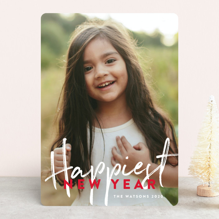 """Banner Happy"" - Holiday Photo Cards in Candy Cane by Phrosne Ras."