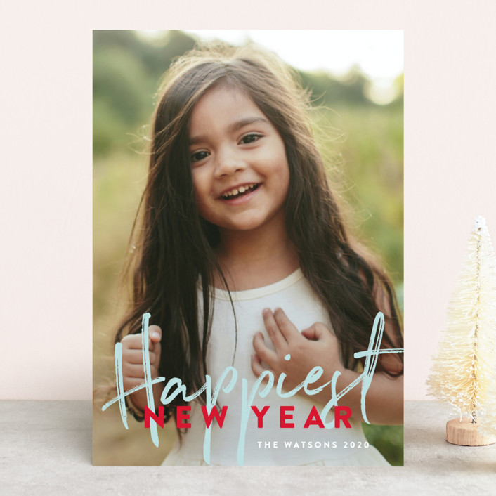 """""""Banner Happy"""" - Holiday Photo Cards in Candy Cane by Phrosne Ras."""