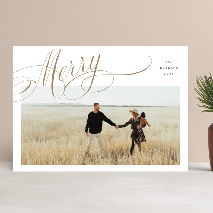 """""""Flourished"""" - Holiday Photo Cards in Wheat by Stacey Meacham."""