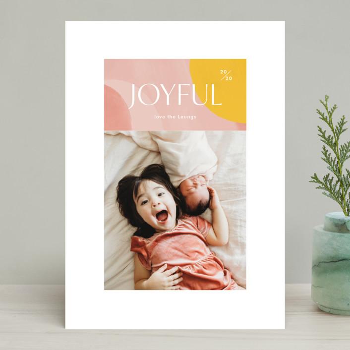 """Artsy Joyful"" - Modern Holiday Photo Cards in Candy by Monika Drachal."