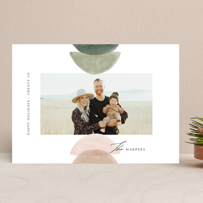 """""""Shapes"""" - Modern Holiday Photo Cards in Cactus by Elly."""