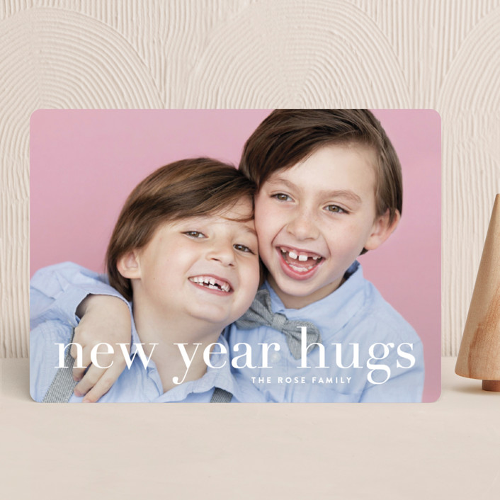 """""""Sending Hugs"""" - Holiday Photo Cards in Snow by Up Up Creative."""