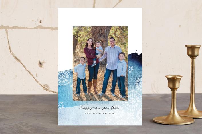 """""""Brushed Batik"""" - Bohemian, Elegant Holiday Photo Cards in Indigo by Olivia Kanaley."""