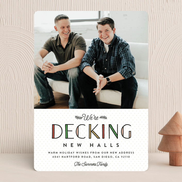 """""""Deck the New Halls"""" - Funny Holiday Photo Cards in Winter Pine by Erica Krystek."""