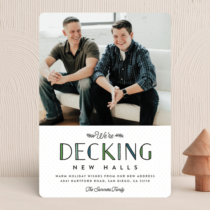 """Deck the New Halls"" - Funny Holiday Photo Cards in Winter Pine by Erica Krystek."
