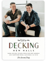 This is a green holiday photo card by Erica Krystek called Deck the New Halls with standard printing on smooth signature in standard.