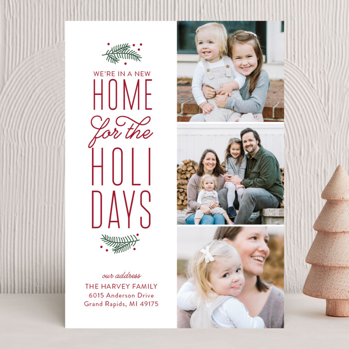 """""""Our New Holiday Home"""" - Vintage Holiday Photo Cards in Burgundy by Sarah Brown."""