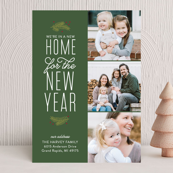 """Our New Holiday Home"" - Vintage Holiday Photo Cards in Evergreen by Sarah Brown."