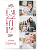This is a red holiday photo card by Sarah Brown called Our New Holiday Home with standard printing on smooth signature in standard.