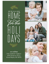 This is a green holiday photo card by Sarah Brown called Our New Holiday Home with standard printing on smooth signature in standard.